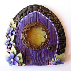 Window Fairy Door Pixie Portal in Purple