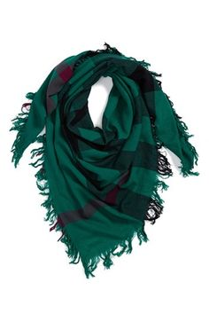 Burberry 'Colour Check' Square Scarf Womens Bright Forest Green