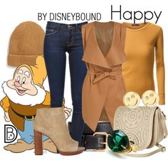 Happy by leslieakay on Polyvore featuring Doublju, Frame Denim, Billabong, Sydney Evan, BP., H&M, disney, disneybound and disneycharacter