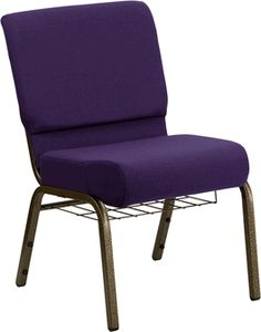 HERCULES Series 21'' Extra Wide Royal Purple Fabric Church Chair with 4'' Thick Seat,Communion Cup Book Rack - Gold Vein Frame, FD-CH0221-4-GV-ROY-BAS-GG by Flash Furniture | BizChair.com