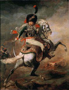 Théodore Géricault (French, 1791–1824) Officier de chasseurs à cheval de la garde impériale chargeant (An Officer of the Imperial Horse Guards Charging), 1812. Oil on canvas, 137.4 × 104.7 in (349 × 266 cm). Musée du Louvre, Paris.