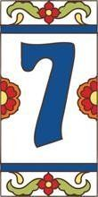 """3"""" X 6"""" Ceramic Tile Address House Number Talavera White #7 SEVEN by Earthtones. $8.90. Indoor or Outdoor Use. Hand-Glazed. Kiln-Fired at over 1800 Degrees. Weatherproof and Fadeproof. Italian Red Quarry Tile. Hand-glazed decorative ceramic tile house numbers come in a variety of styles to suite your individual taste. Display your address number alone or pair it with one of our 3""""x6"""" deco tiles or 6""""x6"""" designs. House numbers can be inlayed directly, or we offer easy to ass..."""