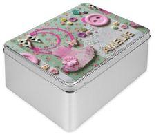 Personalised Treasure Tin Box with name and ballerina tutu pink and green