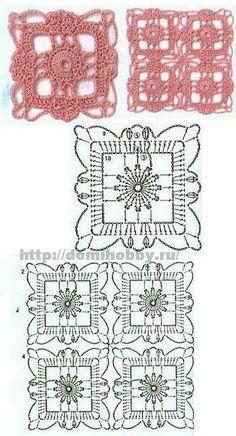 Granny Square filigran lace lacy   Motiv Motif    Квадратные мотивы крючком