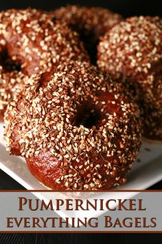 These deep, dark pumpernickel bagels are loaded with flavour, and feature caraway seeds both inside and out. Don't be intimidated by the idea of making bagels, it's easier than you might think! Jalapeno Cheddar Bagel Recipe, Best Bagels, Savoury Baking, Bread Baking, Recipes, Pizza, Kitchens, Brot, Thermomix