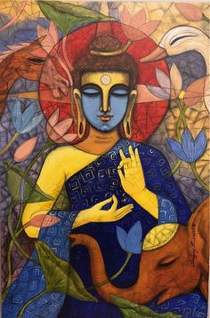 """Drop by drop is the water pot filled. Likewise, the wise man, gathering it little by little, fills himself with good."" ~ The Buddha, Dhammapada ♥ lis Madhubani Art, Madhubani Painting, Budha Art, Budha Painting, Buddha Drawing, Buddha Artwork, Indian Art Paintings, Modern Art Paintings, Buddhist Art"