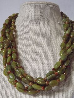 Multi Strand Jade Necklace by CRawlinsCollection on Etsy, $75.00