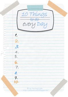 free printable - 10 things to do every day - do something for yourself   http://panpancrafts.blogspot.de/