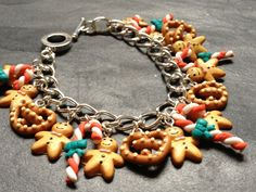 Kitsch Gingerbread Man Fimo Charm Bracelet:  Candy Cane, by Kitsch Creations