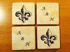 Custom Monogram and Fleur De Lis design by 5 Creations Handmade Decor
