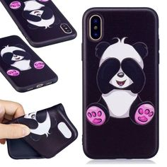 For iPhone X case Silicone Relief Print Pattern Soft Back Cover Case Coque Shell Phone Bag Funda for iPhoneX Owl Phone Cases, Funny Phone Cases, Iphone 8 Cases, Iphone 7, Panda Painting, Painting Art, Ipod, Cartoon Panda, Samsung