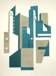 Limited edition linocut print Goldfinger III by contemporary British printmaker Paul Catherall. Building Illustration, Illustration Art, Building Drawing, Architectural Prints, Abstract Drawings, Architecture Drawings, Art Graphique, Linocut Prints, Textile Prints
