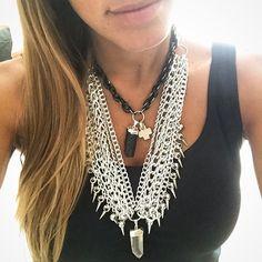"""""""Hola Lunes! Hoy nos pusimos TODO... Collar Miley & Pechera Rocker con Cuarzo. Mas protegida no puedo estar!  Shop ONLINE:…"""""""