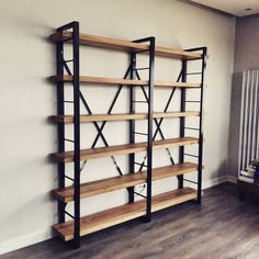 Stylish design industrial style bookcase model for working room and offices. # ahşapkitaplık # masifkitaplık to room - Metal Furniture, Industrial Furniture, Furniture Plans, Rustic Furniture, Home Furniture, System Furniture, Vintage Bookshelf, Metal Bookcase, Wood Bookshelves