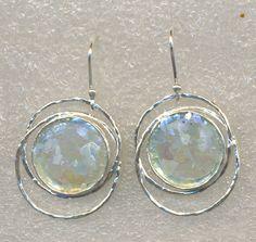 Israeli jewelry roman glass on silver earrings