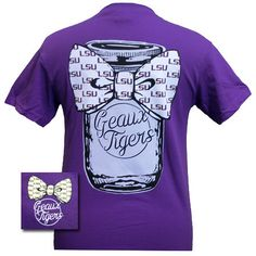 Louisiana State LSU Tigers Mason Jar Big Bow Girlie Bright T Shirt Available in sizes Adult S-2X