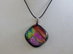 Multicolored Glass Pendant by ZacInTheBoxCreations on Etsy