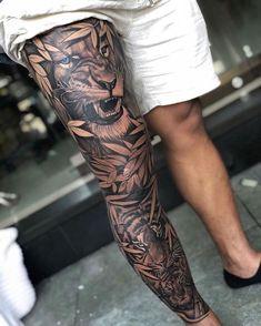 Lion Leg Tattoo, Realistic Tattoo Sleeve, Animal Sleeve Tattoo, Lion Tattoo Sleeves, Lion Head Tattoos, Knee Tattoo, Leg Sleeve Tattoo, Best Sleeve Tattoos, Tattoo Sleeve Designs
