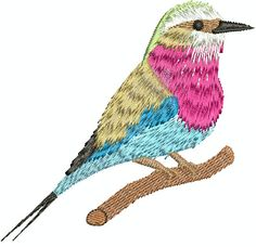 Lilacbreasted Roller Digital Embroidery by EmbroideryDesignsBRN