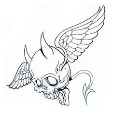 skeleton art of big cats | flying devil skull devil tattoo design, art, flash, pictures, images ...