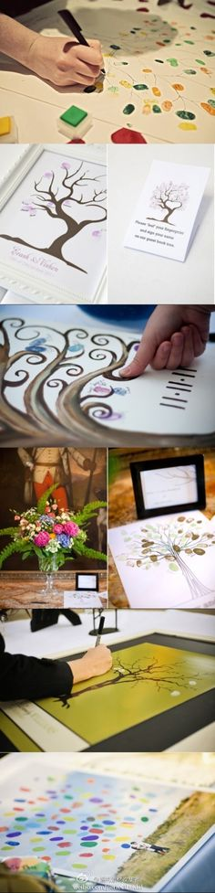 Instead of having guests at your wedding sign a book at the reception, have them sign and add leaves to a family tree on canvas to hang in your home! Doing this at my wedding.