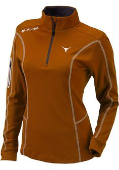 Show your Longhorns spirit in this Texas Longhorns Long Sleeve 1/4 Zip. This Womens Orange Shotgun Long Sleeve Pullover features a screen print team logo on left chest. Youll want to wear this Texas Longhorns Long Sleeve 1/4 Zip every day.