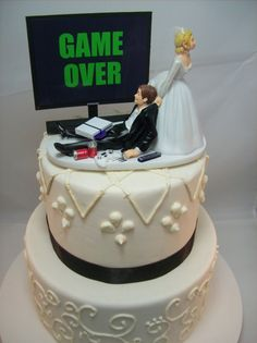 ** Hair Color changes are Free ** * Video Game & Game Console changes are also Free * Additional Couple Details are $10 each and available in the drop-down selection. Please add a note of changes when you order. Thank you! VIDEO GAME JUNKIE Wedding Cake Topper Grooms Cake This wedding cake topper is perfect for the gamer fanatic in your life! You can also leave this sitting out in your home as an awesome memorabilia item displaying your love of gaming and each other. This topper comes w...