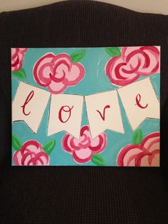 Lilly Pulitzer inspired Canvas painting. #diy #canvas