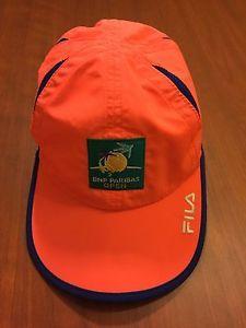 ☀FILA BNP PARIBAS Open Tennis Hat☀Cap Neon Salmon Pink Blue Trim Indian Wells  | eBay