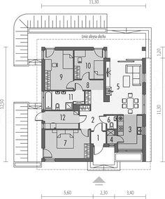 Projekt domu Rafael III 95,56 m2 - koszt budowy 192 tys. zł - EXTRADOM Bungalow, House Plans, Sweet Home, Floor Plans, House Design, How To Plan, Architecture, Plantation Houses, Quartos