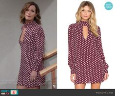 Chelsea's burgundy floral dress with front keyhole cutout on The Young and the Restless.  Outfit Details: https://wornontv.net/57679/ #TheYoungandtheRestless  Buy it at Revolve: http://wornon.tv/36122