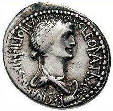 Moneda con la imágen de Cleopatra