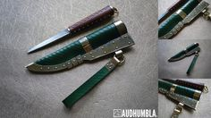Viking knife. Green leather sheath with simple line incissed pattern and brass fittings with step shaped file work with tinned copper underlay. One point suspension. Pattern welded blade with full flat grind by Łukasz Szczepański. Studded handle in pear wood with brass bolsters.