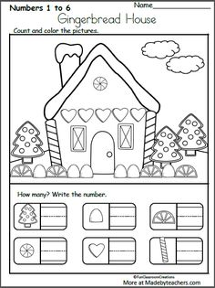 Free December Christmas Worksheets for Kindergarten - Writing Numbers - Madebyteachers, Christmas Worksheets Kindergarten, Preschool Christmas, Kindergarten Worksheets, Kindergarten Activities, Preschool Activities, Gingerbread Man Kindergarten, Christmas Crafts For Kindergarteners, Hansel Y Gretel, Christmas Writing