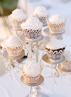 We are in love with these frilly, feminine totally wedding worthy lace cupcake wrappers that we've started seeing!! Photography by kjrstenmadsen.com, Wedding Venue, Planning, Cupcakes + Floral Design: Secrets Wild Orchid Montego Bay in Montego Bay, Jamaica