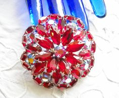 Vintage Brooch Ruby Red Aurora Borealis Rhinestones Statement Open Backed Stones Flower Hollywood Regency Mid Century Wedding by FindCharlotte on Etsy