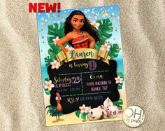 Invitación  pizarra  invitan a Moana  Disney Princess