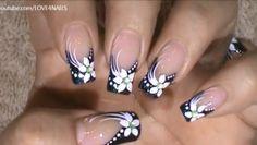 80 Winter Black and White Nail Art Designs - Nails C Grey Nail Designs, Fingernail Designs, French Nail Art, French Tip Nails, Black And White Nail Art, White Nails, Black White, Flower Nail Art, Fabulous Nails