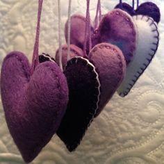 Purple felt heart ornaments set of six by Lucismiles on Etsy, $13.50