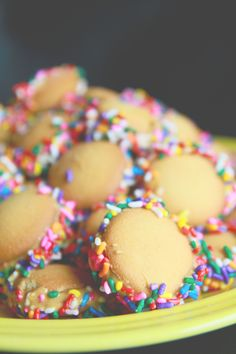 Nilla Wafers + peanut butter + rolled in sprinkles (not of fan of peanut butter but what about chocolate?!)