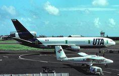 UTA DC10  at Tahiti Faaa Airport. Love the Air Polynesie Twin Otter. ( pre-1986)