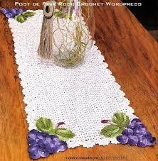 Resultado de imagen para caminhos de mesa de croche com cachos de uvas