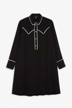 Contrast piping shirt dress - Black magic - Dresses - Monki FR