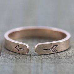 Rose Gold Ring - Alternative Engagement Rings for Women - Custom Engraved Arrow Ring - Boho Stac Long Distance Relationship Gifts, Distance Relationships, Jewelry For Her, Jewelry Ideas, Diy Jewelry, Stamped Jewelry, Metal Jewelry, Silver Jewelry, Silver Rings