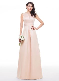 efff136d6a16 A-Line Princess V-neck Floor-Length Satin Prom Dress With Ruffle