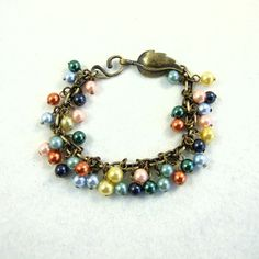 Colourful Pearl Cluster Bracelet £8.95 by Maxine Veronica hand made one of a kind Jewellery