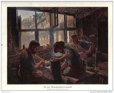"""In der Besenbinderwerkstatt    - Druck, entnommen   aus """"die Gartenlaube"""", 1909"""