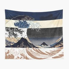"""""""Great Wave Off Kanagawa Color Glitch Retro"""" Tapestry by ind3finite 