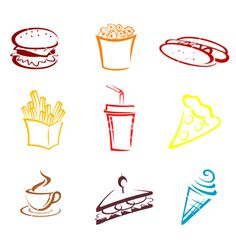 Illustration of Fast food and snack symbols in cartoon style vector art, clipart and stock vectors. Food Icons, Food Illustrations, Yummy Snacks, Cartoon Styles, Vector Art, Clip Art, Symbols, Drawings, Foods