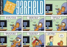 Garfield en Español by Jim Davis for Jun 24 2018 Garfield And Odie, Garfield Comics, Cat Comics, Funny Comics, Funny Animal Pictures, Funny Animals, Animal Pics, Hagar The Horrible, Jim Davis